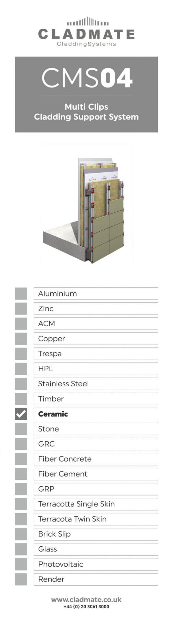Multi Clips Cladding System Support
