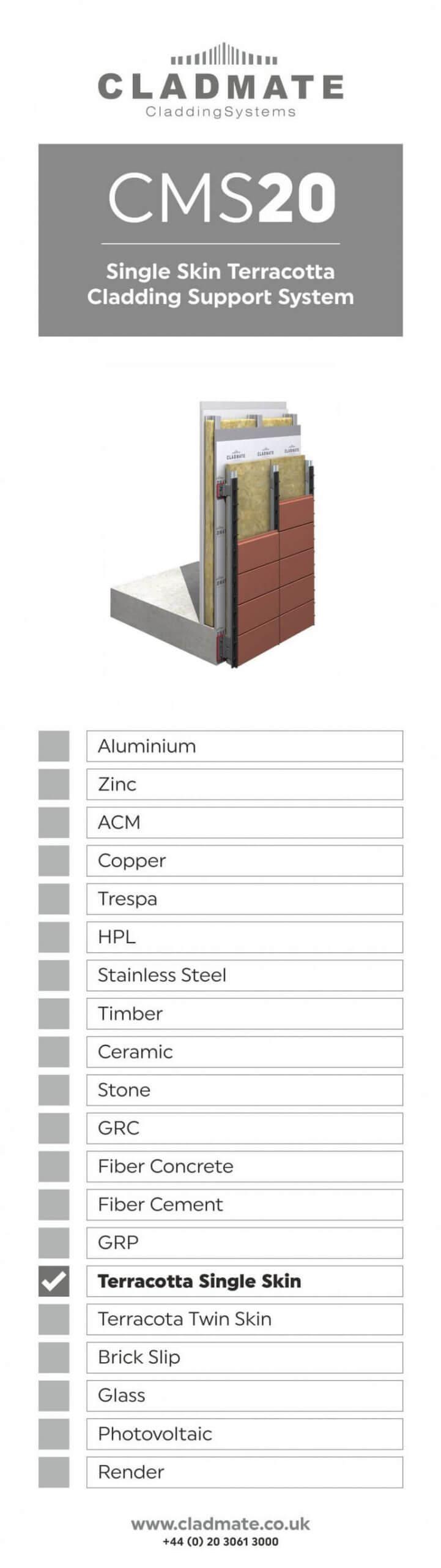 Single Skin Terracotta Cladding Panels Support